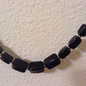 Beaded retro design shiny black necklace